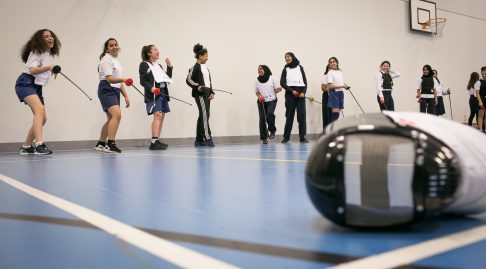 Girls fencing in the Muslim Girls Project
